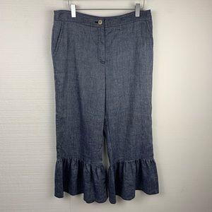 Ett:Twa Anthropologie Blue Ruffle Hem Crop Pants